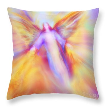 Archangel Uriel In Flight Throw Pillow