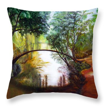 Arched Bridge Over Brilliant Waters Throw Pillow