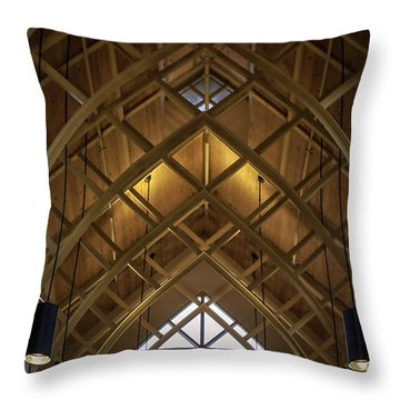Arched Trusses - University Of Florida Chapel On Lake Alice Throw Pillow by Lynn Palmer