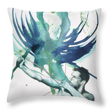 Throw Pillow featuring the painting Archer by Rene Capone