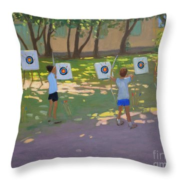 Archery Practice  France Throw Pillow by Andrew Macara