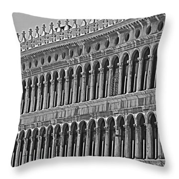 Arches And Columns In Piazza San Marco Throw Pillow by Rita Mueller