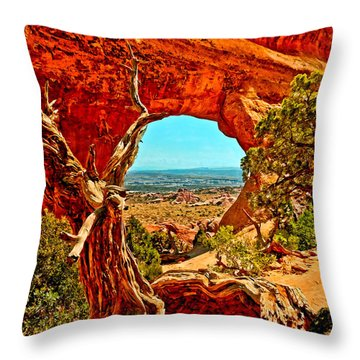 Arches National Park Throw Pillow by Bob and Nadine Johnston