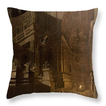 Architectural Fantasy With Figures Throw Pillow by Stefano Orlandi