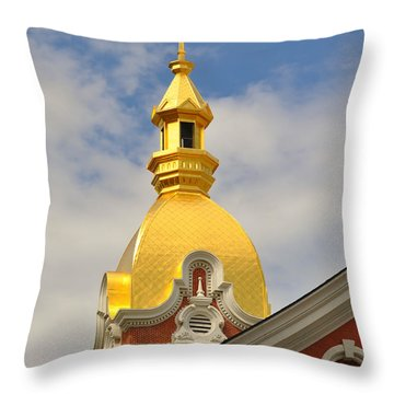 Architecture - Golden Cross Throw Pillow by Liane Wright