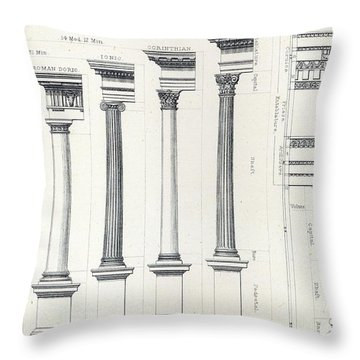 Architecture I Orders Of Architecture Engraved By Charles Lawrie Throw Pillow by  John Burley Waring