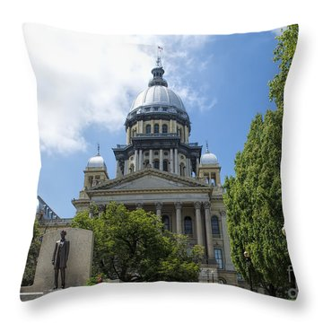 Architecture - Illinois State Capitol  - Luther Fine Art Throw Pillow by Luther Fine Art