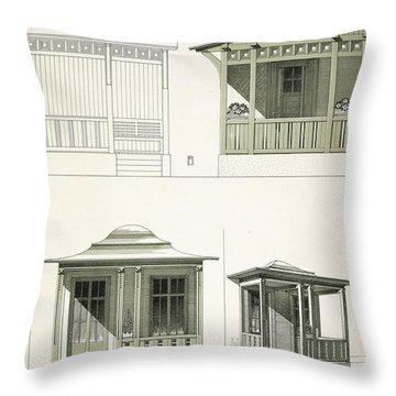 Architecture In Wood, C.1900 Throw Pillow by Richard Dorschfeldt
