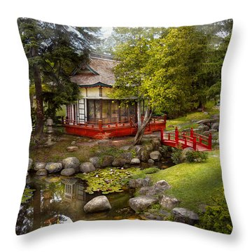 Architecture - Japan - Tranquil Moments  Throw Pillow by Mike Savad