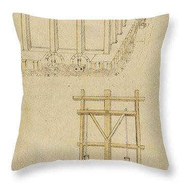 Architecture With Indoor Fountain From Atlantic Codex  Throw Pillow by Leonardo Da Vinci