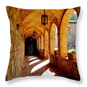 Archway By Courtyard In Castello Di Amorosa In Napa Valley-ca Throw Pillow