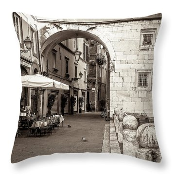 Archway Over Street Throw Pillow