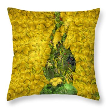 Arcimboldo Vegetable Heart Throw Pillow by Lorri Crossno