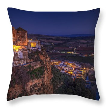 Arcos De La Frontera Panorama From Balcon De La Pena Cadiz Spain Throw Pillow