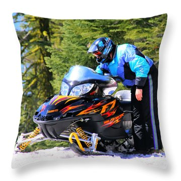Arctic Cat Snowmobile Throw Pillow