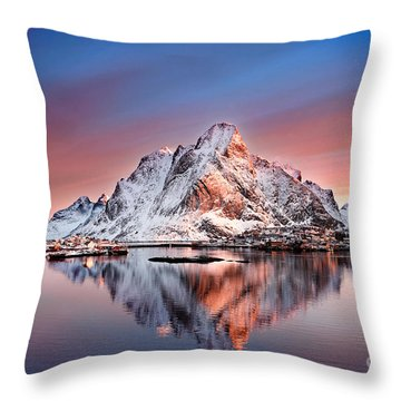 Arctic Dawn Over Reine Village Throw Pillow