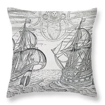 Arctic Phenomena From Gerrit De Veer S Description Of His Voyages Amsterdam 1600 Throw Pillow by Netherlandish School