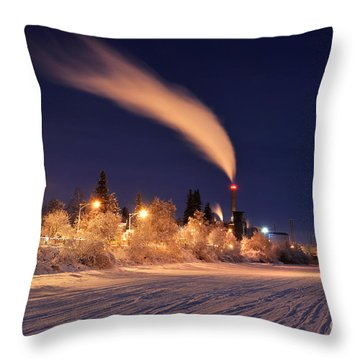 Arctic Power At Night Throw Pillow