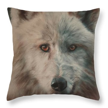 Arctic Wolf Throw Pillow by Cherise Foster