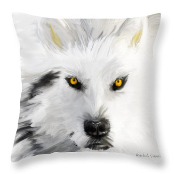 Arctic Wolf With Yellow Eyes Throw Pillow by Angela A Stanton