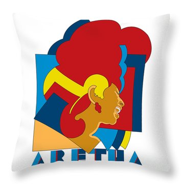 Aretha Franklin No.05 Throw Pillow by Caio Caldas