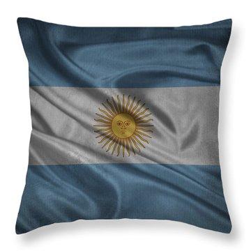 Argentinian Flag Waving On Canvas Throw Pillow by Eti Reid