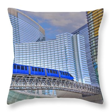 Aria Las Vegas Nevada Hotel And Casino Tram  Throw Pillow by David Zanzinger