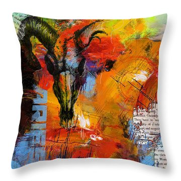 Aries Horoscope Throw Pillow by Corporate Art Task Force