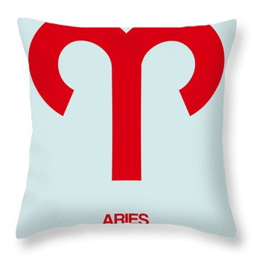 Aries Zodiac Sign Red Throw Pillow
