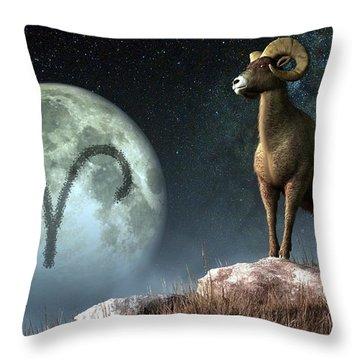 Aries Zodiac Symbol Throw Pillow by Daniel Eskridge