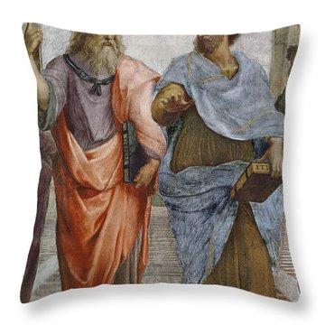 Aristotle And Plato Detail Of School Of Athens Throw Pillow by Raffaello Sanzio of Urbino