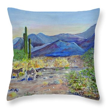 California - Wild Burros Throw Pillow