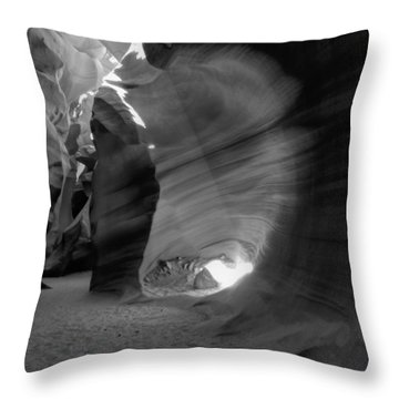 Throw Pillow featuring the photograph Arizona - Antelope Canyon 026 Bw by Lance Vaughn