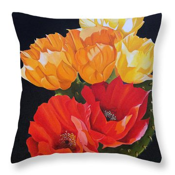 Arizona Blossoms - Prickly Pear Throw Pillow by Debbie Hart