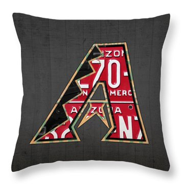 Arizona Diamondbacks Baseball Team Vintage Logo Recycled License Plate Art Throw Pillow