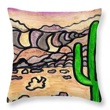 Throw Pillow featuring the drawing Arizona  by Don Koester