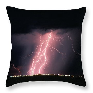 Arizona  Lightning Over City Lights Throw Pillow by Anonymous