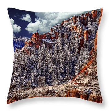 Arizona Secret Mountain Wilderness In Winter Throw Pillow