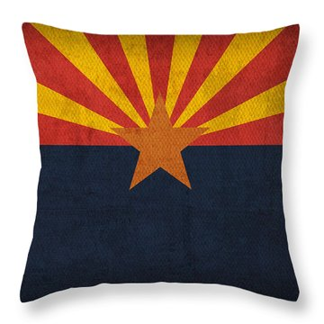 Arizona State Flag Art On Worn Canvas Throw Pillow by Design Turnpike
