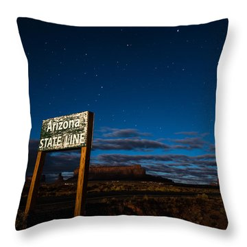 Arizona State Line In Monument Valley At Night Throw Pillow