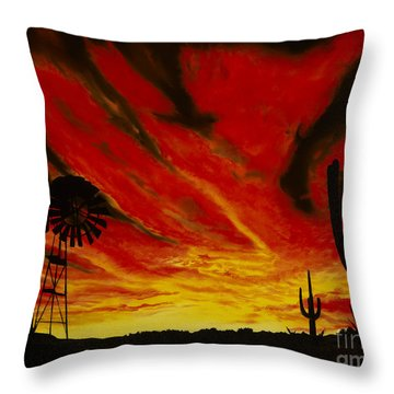 Throw Pillow featuring the painting Arizona Sunset by Stuart Engel