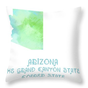 Arizona - The Grand Canyon State - Copper State - Map - State Phrase - Geology Throw Pillow by Andee Design