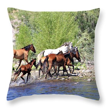 Arizona Wild Horse Family Throw Pillow