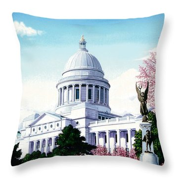 Arkansas Capitol Blossoms Throw Pillow