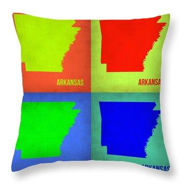 Arkansas Pop Art Map 1 Throw Pillow by Naxart Studio