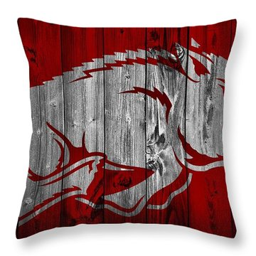Arkansas Razorbacks Barn Door Throw Pillow by Dan Sproul