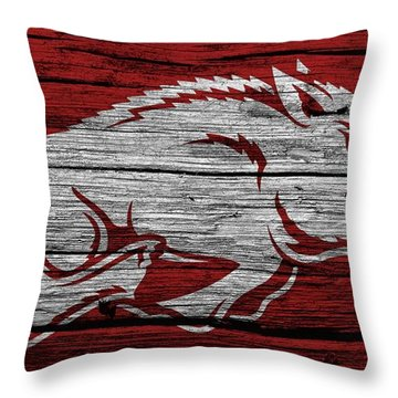 Arkansas Razorbacks On Wood Throw Pillow by Dan Sproul