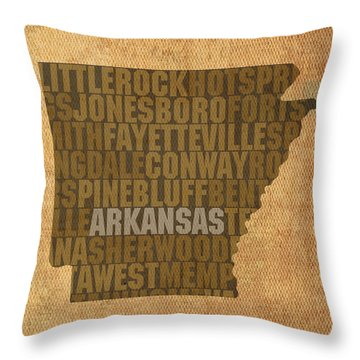 Arkansas Word Art State Map On Canvas Throw Pillow by Design Turnpike