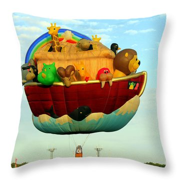 Arky Hot Air Balloon Throw Pillow by Kathy  White