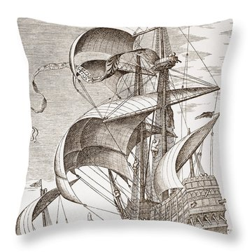 Armed Three-master On The Open Sea Throw Pillow